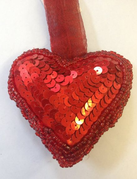 Deep Red Sequin Beaded Hanging Heart - Style C
